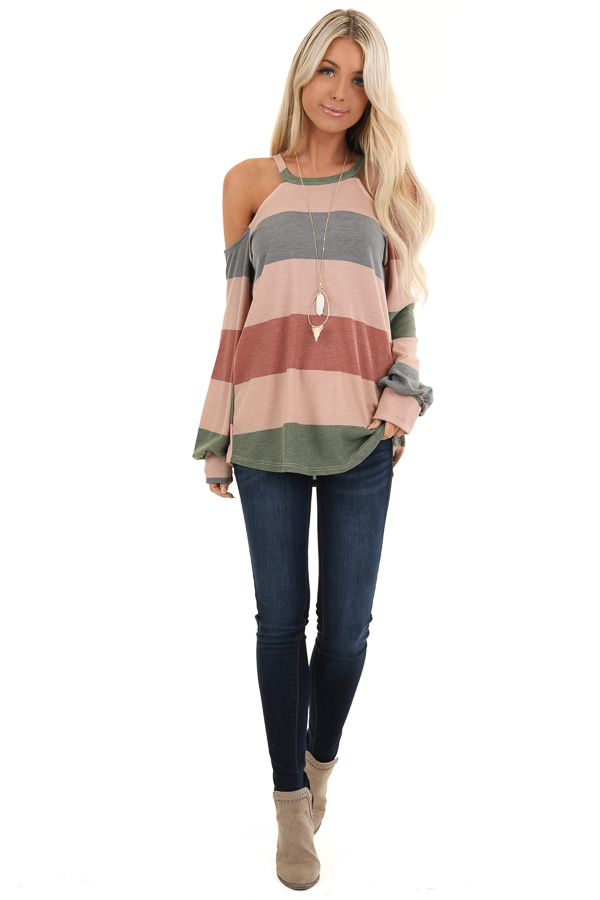 Mauve and Olive Striped Cold Shoulder Long Sleeve Top front full body