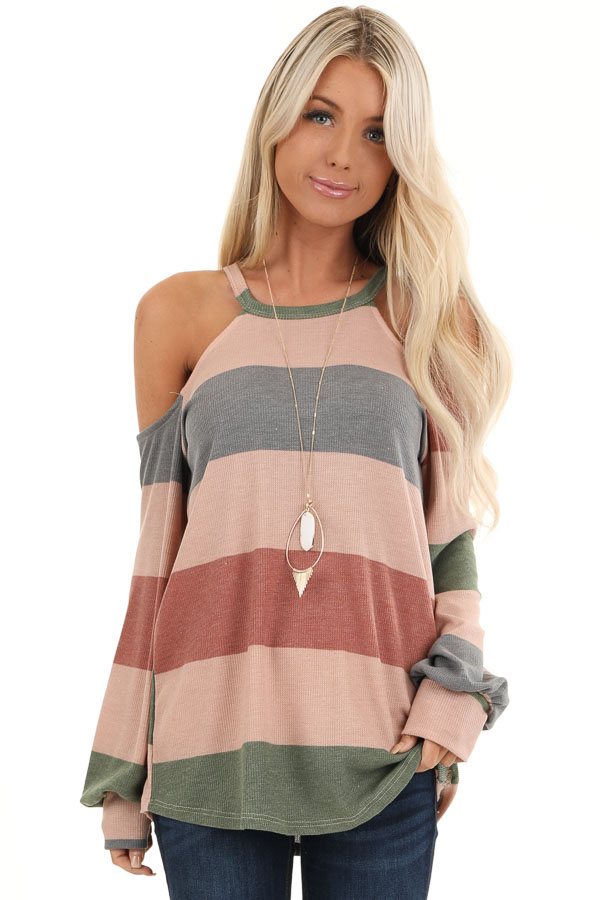 Mauve and Olive Striped Cold Shoulder Long Sleeve Top front close up