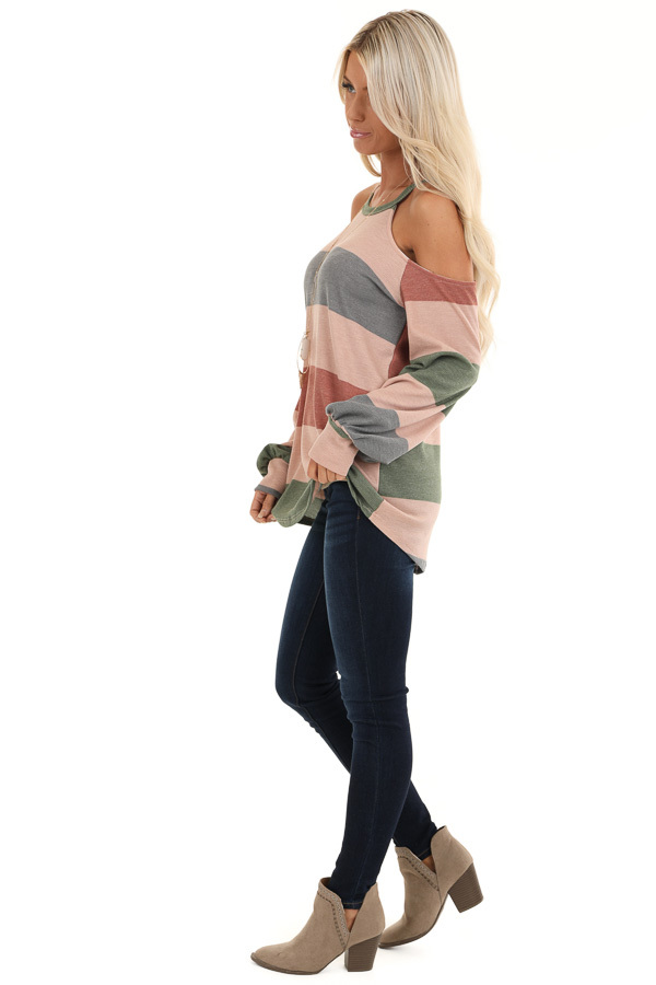 Mauve and Olive Striped Cold Shoulder Long Sleeve Top side full body