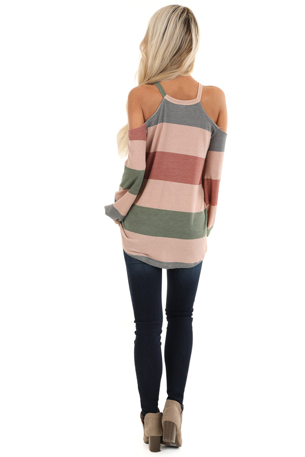 Mauve and Olive Striped Cold Shoulder Long Sleeve Top back full body