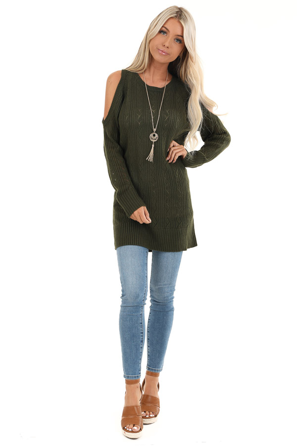 Olive Cold Shoulder Knit Sweater with Lace Up Back front full body