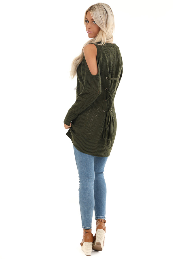 Olive Cold Shoulder Knit Sweater with Lace Up Back back side full body