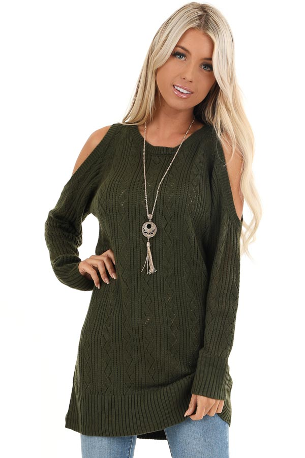 Olive Cold Shoulder Knit Sweater with Lace Up Back front close up