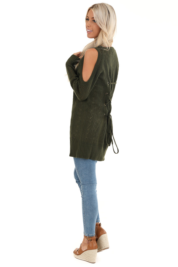 Olive Cold Shoulder Knit Sweater with Lace Up Back back full body