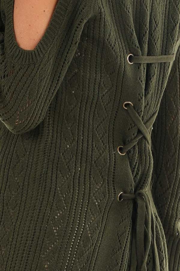 Olive Cold Shoulder Knit Sweater with Lace Up Back detail