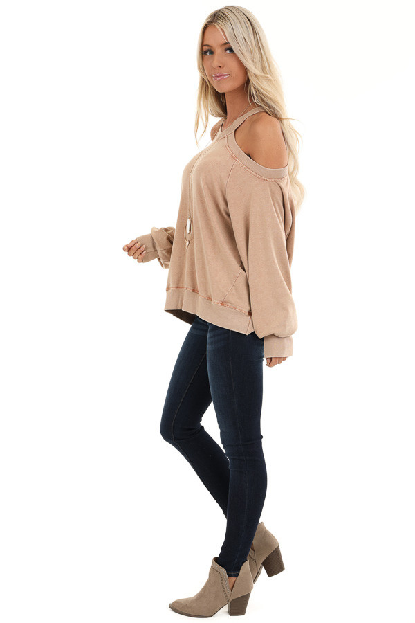 Sand Cold Shoulder Loose Fit Top with Long Bubble Sleeves side full body