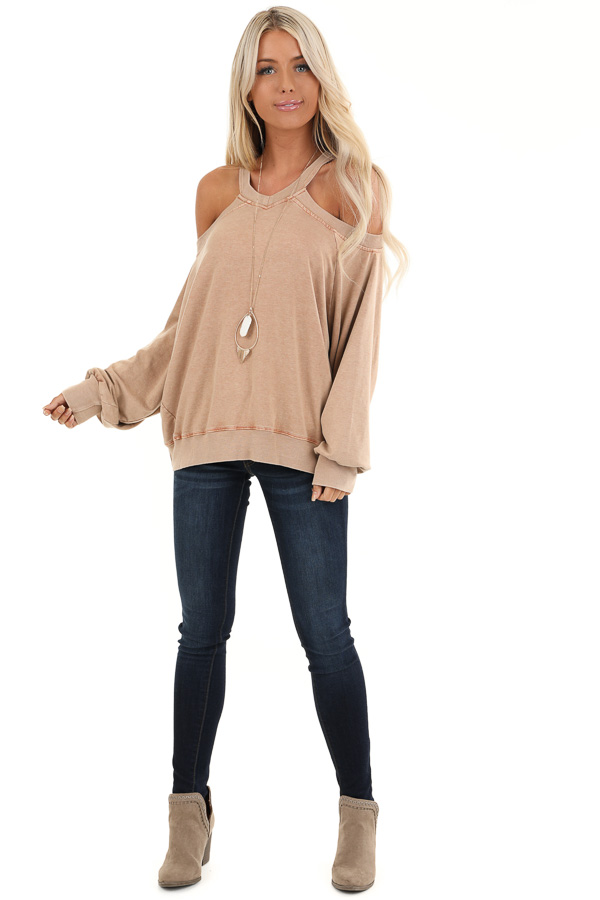 Sand Cold Shoulder Loose Fit Top with Long Bubble Sleeves front full body