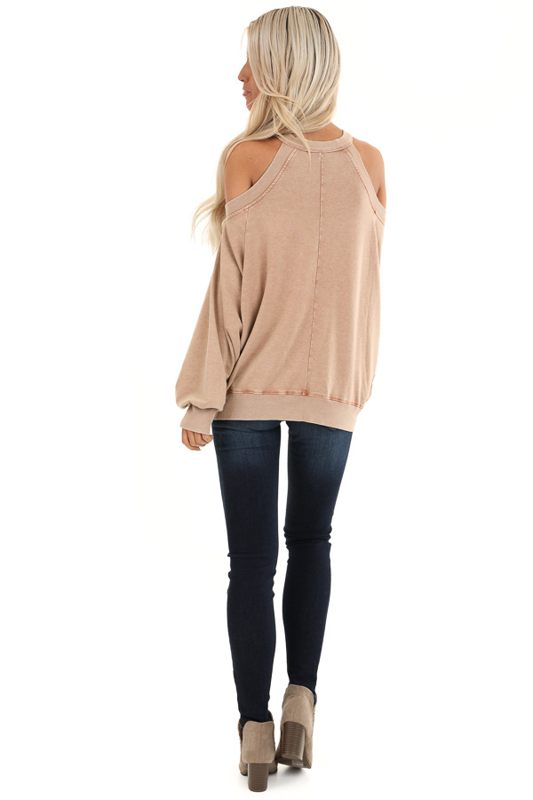Sand Cold Shoulder Loose Fit Top with Long Bubble Sleeves back full body