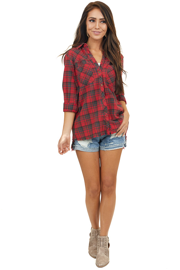 Carmine Plaid Button Up Top with Antique Brass Studs