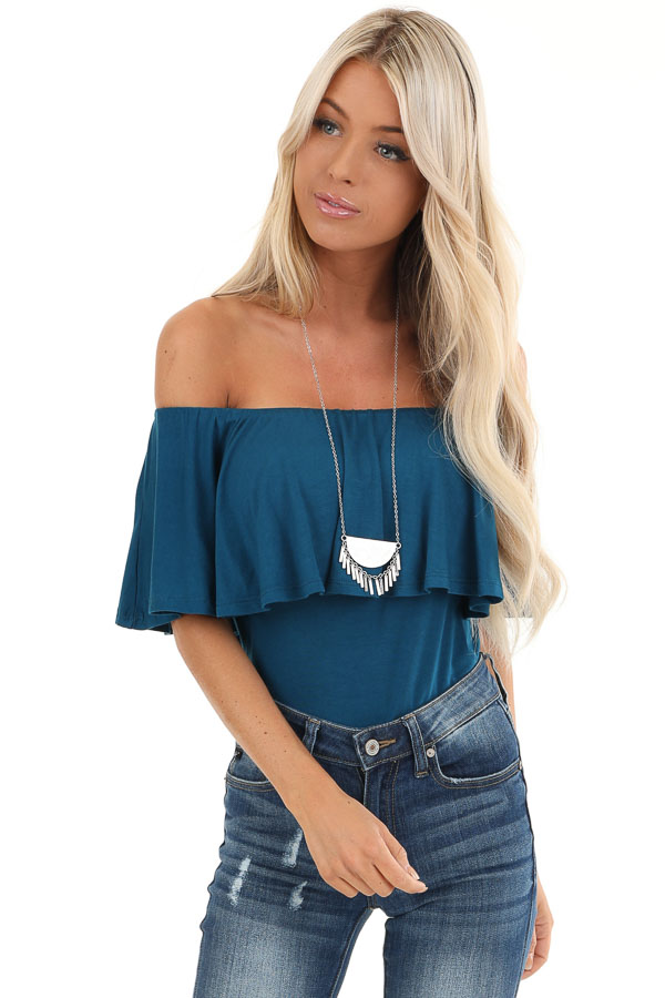 Dark Teal Off Shoulder Bodysuit with Ruffles front close up