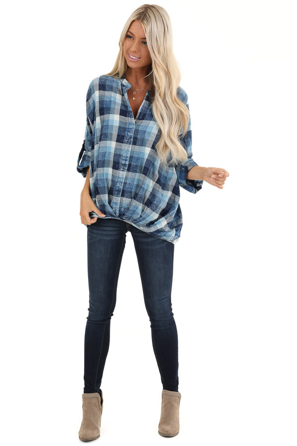 Denim Plaid V Neck Top with Roll Up Sleeves front full body