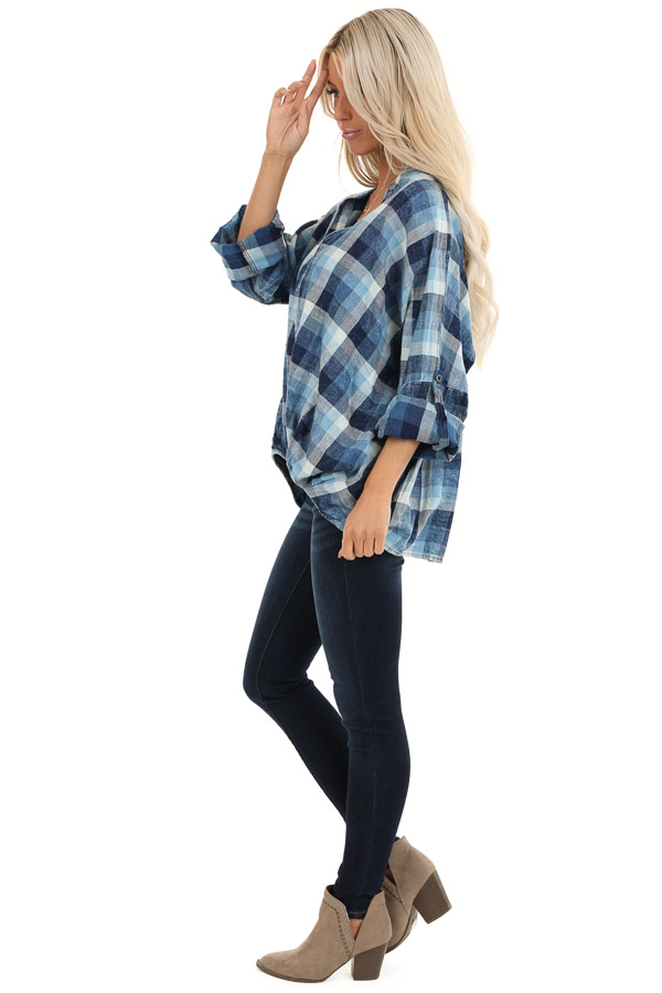 Denim Plaid V Neck Top with Roll Up Sleeves side full body