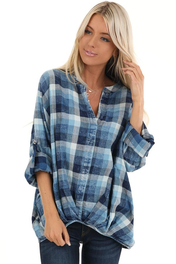 Denim Plaid V Neck Top with Roll Up Sleeves front close up