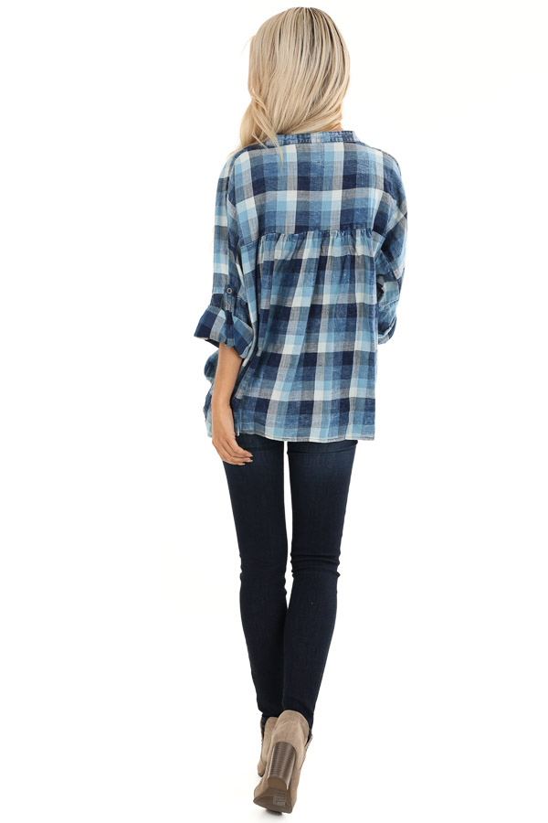 Denim Plaid V Neck Top with Roll Up Sleeves back full body