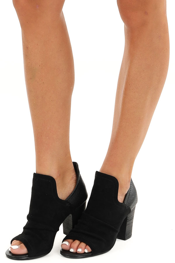 Midnight Black Faux Suede and Snakeskin Open Toed Heels side view