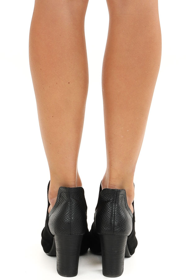 Midnight Black Faux Suede and Snakeskin Open Toed Heels back view