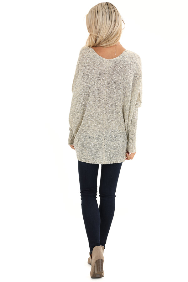 Oatmeal Speckled V Neck Knit Sweater with Front Pockets back full body