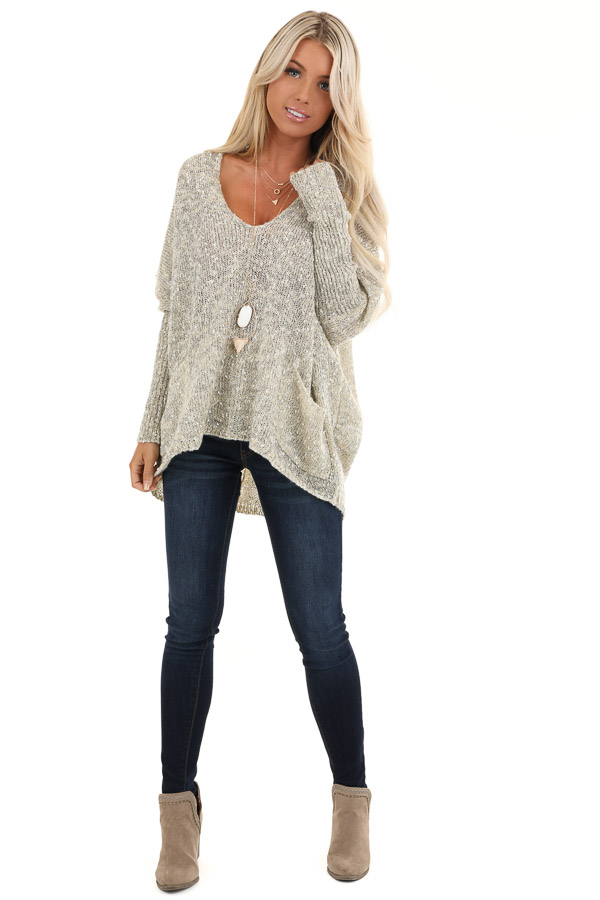 Oatmeal Speckled V Neck Knit Sweater with Front Pockets front full body