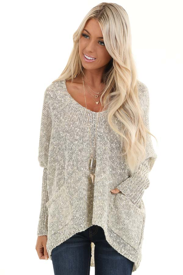 Oatmeal Speckled V Neck Knit Sweater with Front Pockets front close up