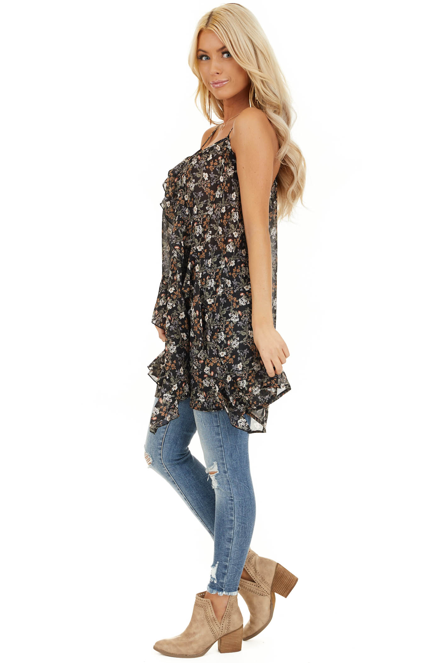 Raven Black Floral Print Cami Tunic Top with Ruffle Detail side full body
