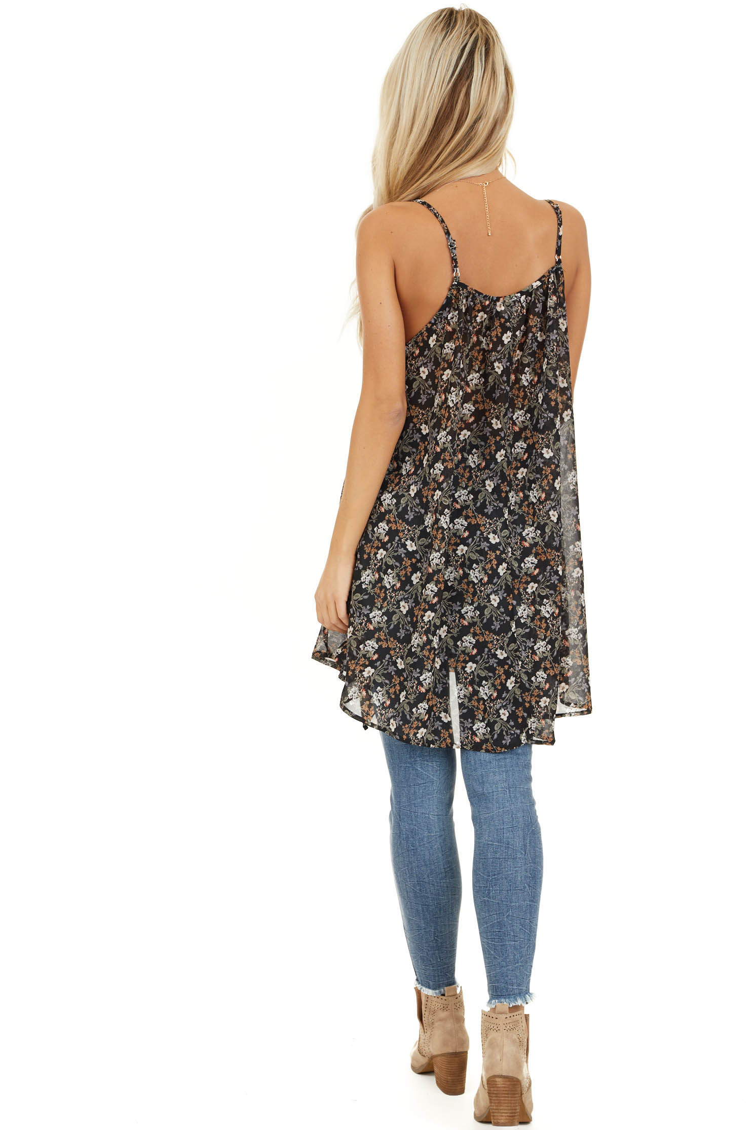 Raven Black Floral Print Cami Tunic Top with Ruffle Detail back full body