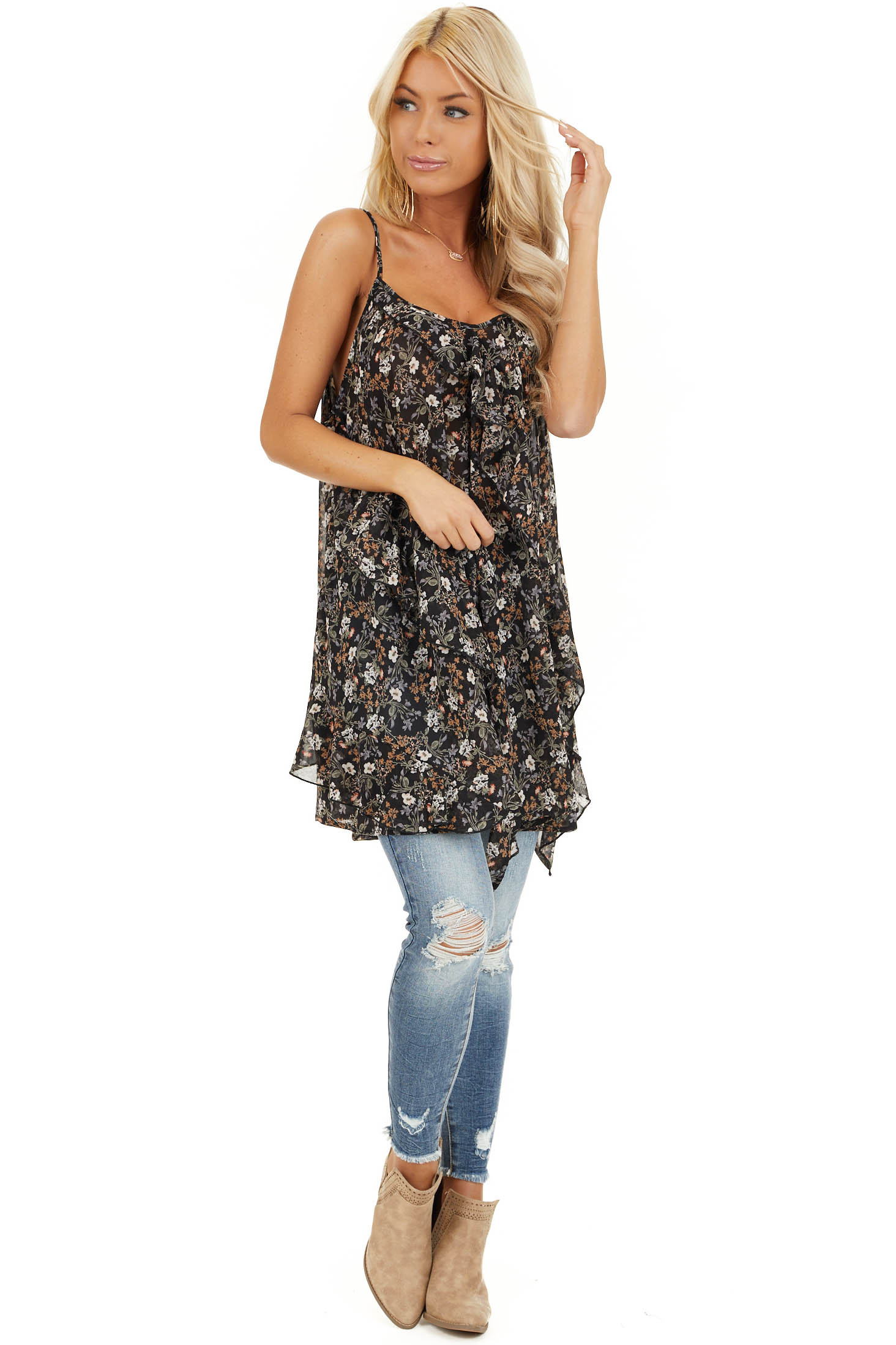 Raven Black Floral Print Cami Tunic Top with Ruffle Detail front full body