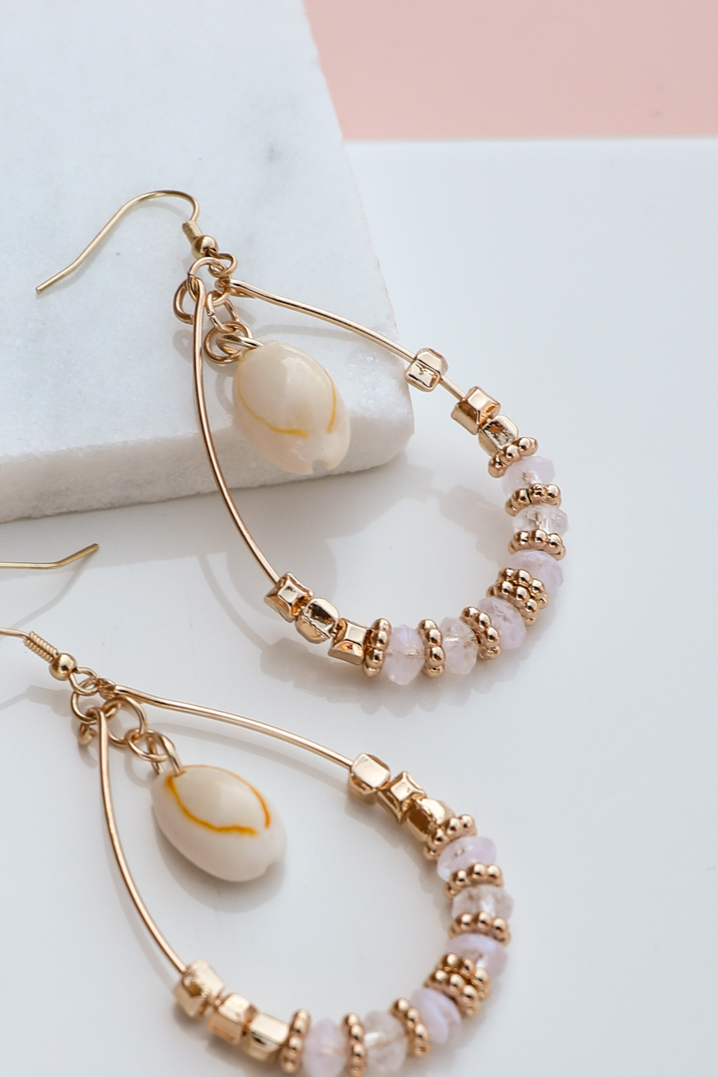 Gold Teardrop Beaded Hoop Earrings with Seashell Detail