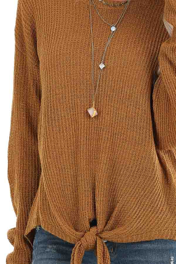 Brass Long Sleeved Waffle Knit Sweater with Front Tie detail
