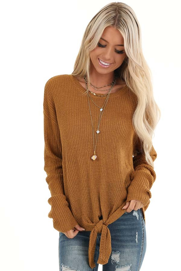 Brass Long Sleeved Waffle Knit Sweater with Front Tie front close up