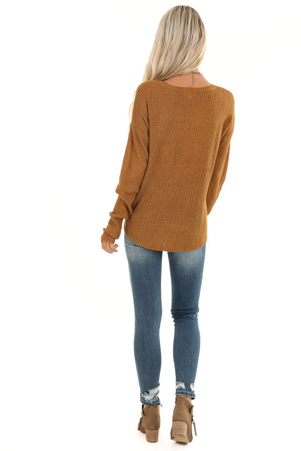 Brass Long Sleeved Waffle Knit Sweater with Front Tie back full body