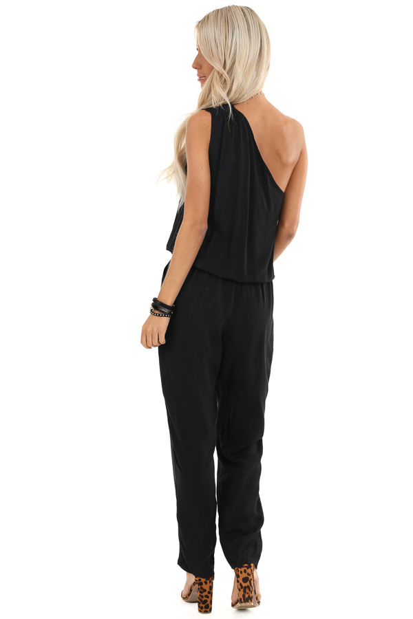 Midnight Black One Shoulder Jumpsuit with Pockets back full body