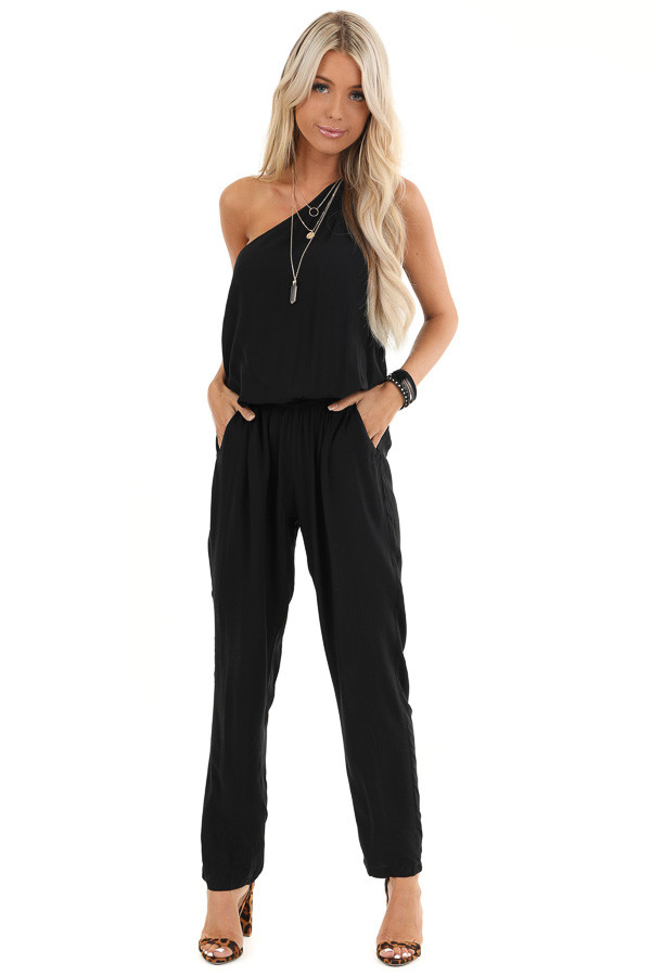 Midnight Black One Shoulder Jumpsuit with Pockets front full body