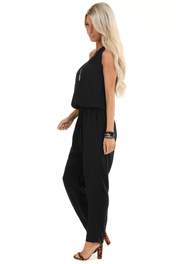 Midnight Black One Shoulder Jumpsuit with Pockets side full body