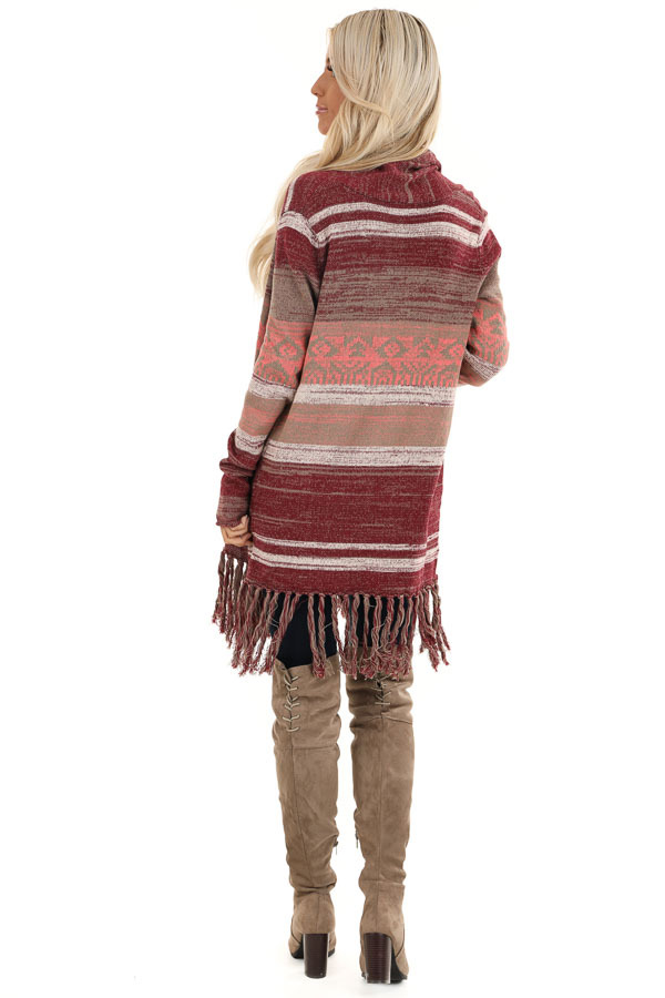 Mahogany Striped Cardigan with Long Sleeves and Tassels back full body