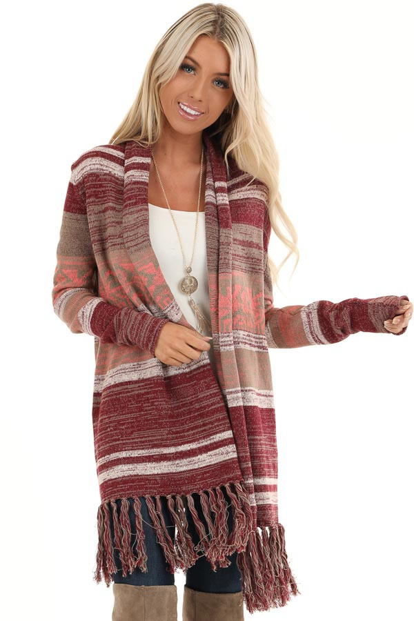 Mahogany Striped Cardigan with Long Sleeves and Tassels front close up