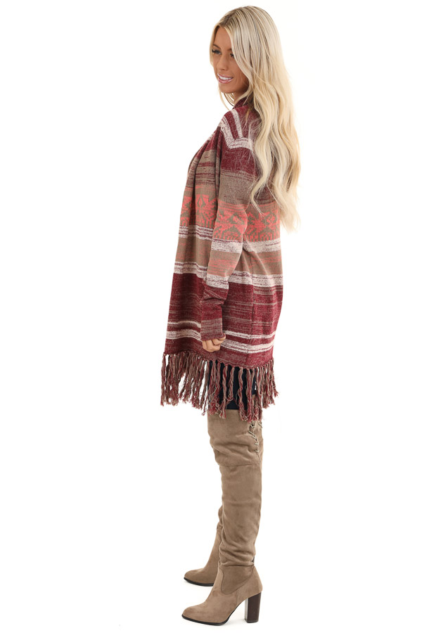 Mahogany Striped Cardigan with Long Sleeves and Tassels side full body