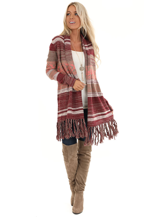 Mahogany Striped Cardigan with Long Sleeves and Tassels front full body
