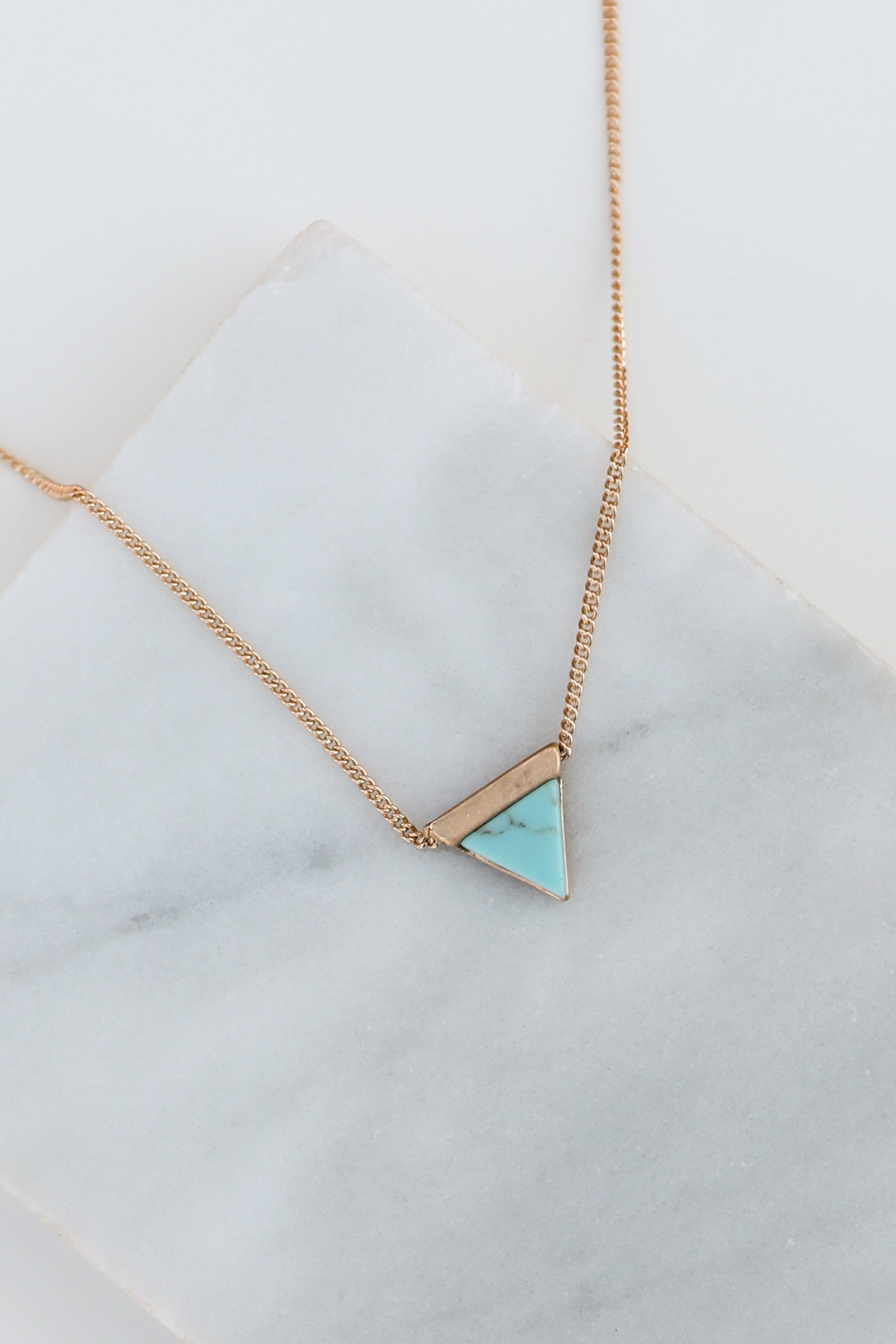 Gold Choker Necklace with Turquoise Marbled Triangle Pendant
