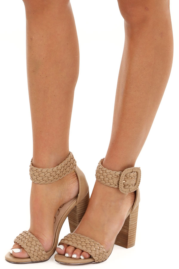 Taupe Faux Leather Heels with Buckle Detail side view