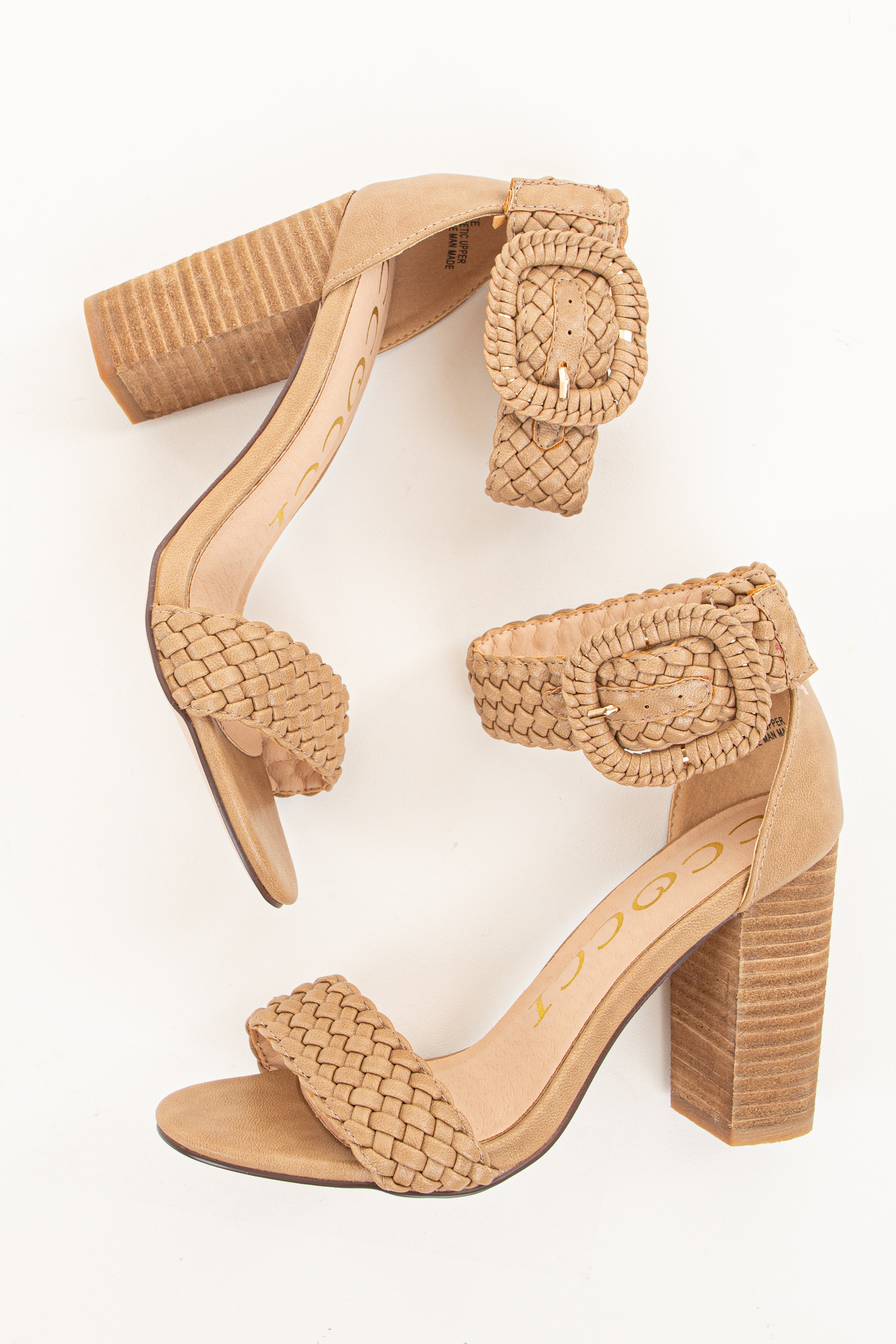 Taupe Faux Leather Heels with Buckle Detail