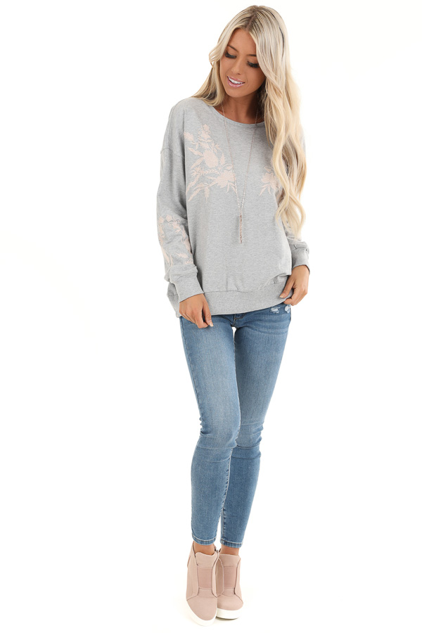 Heather Grey Embroidered French Terry Long Sleeve Sweater front full body