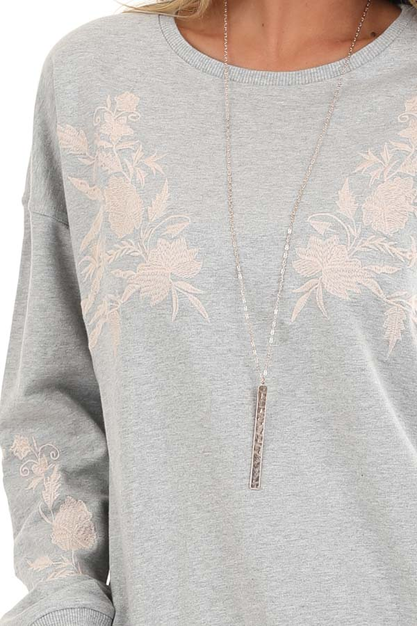 Heather Grey Embroidered French Terry Long Sleeve Sweater detail