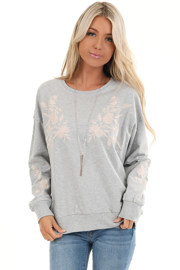 Heather Grey Embroidered French Terry Long Sleeve Sweater front close up