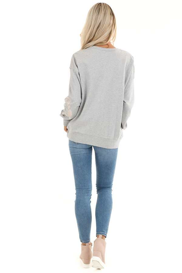 Heather Grey Embroidered French Terry Long Sleeve Sweater back full body