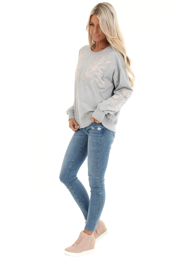 Heather Grey Embroidered French Terry Long Sleeve Sweater side full body