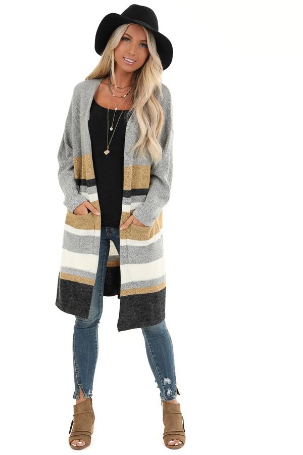Heather Grey Striped Long Sleeve Cardigan front full body