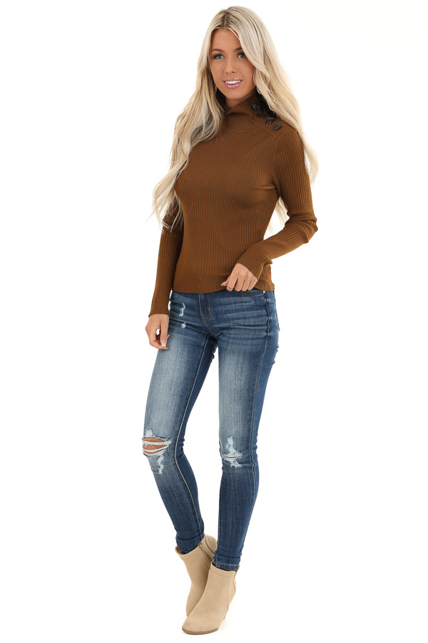 Russet Turtleneck Top with Asymmetrical Button Detail front full body
