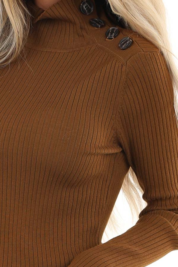 Russet Turtleneck Top with Asymmetrical Button Detail detail