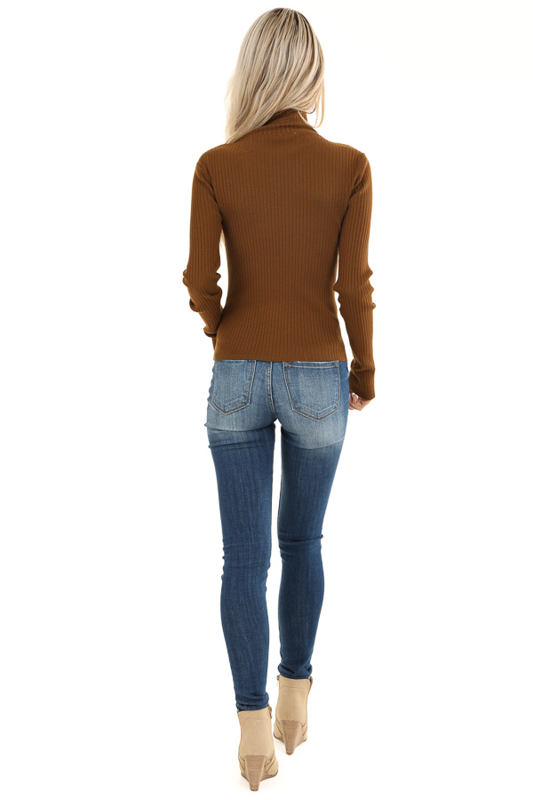 Russet Turtleneck Top with Asymmetrical Button Detail back full body