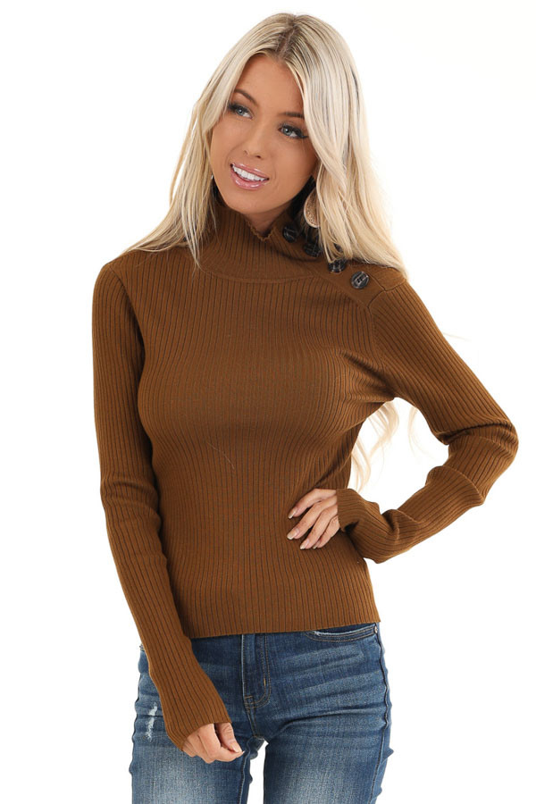 Russet Turtleneck Top with Asymmetrical Button Detail front close up